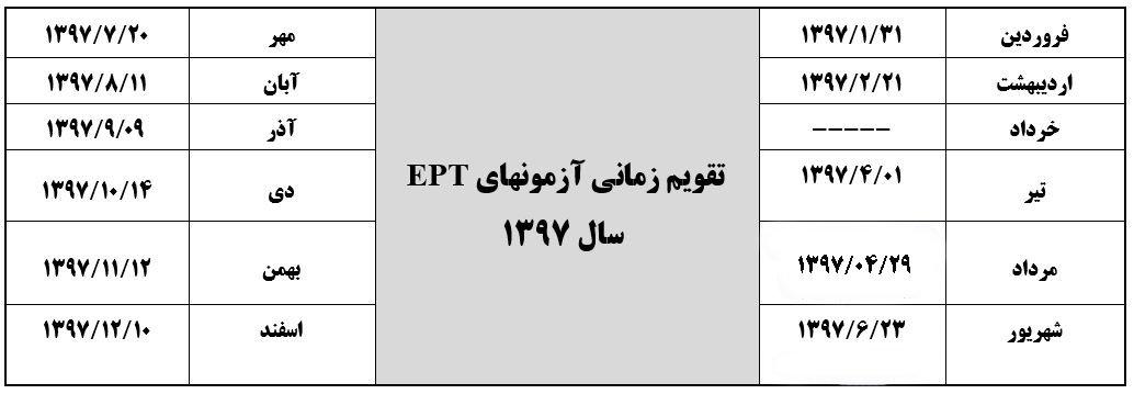 تقویم زمان برگزاری آزمون EPT